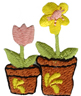 1'' by 1 1/4'' Iron On Flowers in Flower Pot Applique1'' by 1 1/4'' Iron On Flowers in Flower Pot Applique