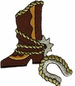 2 5/8'' by 3 1/4'' Iron On Cowboy Boot & Horseshoe Applique2 5/8'' by 3 1/4'' Iron On Cowboy Boot & Horseshoe Applique