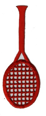 1 3/8'' by 3 7/8'' Red Tennis Racket Iron On Applique1 3/8'' by 3 7/8'' Red Tennis Racket Iron On Applique