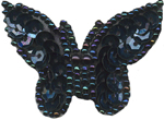 1 1/4'' by 1 3/4'' Black/Dark Multi Beaded & Sequined Butterfly Applique1 1/4'' by 1 3/4'' Black/Dark Multi Beaded & Sequined Butterfly Applique