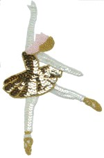 5 5/8'' by 7 1/4'' Beaded & Sequin Ballet Dancer Applique - 5 Colors5 5/8'' by 7 1/4'' Beaded & Sequin Ballet Dancer Applique - 5 Colors