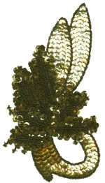 4'' by 6 5/8'' Gold/ Black Beaded & Sequined Applique4'' by 6 5/8'' Gold/ Black Beaded & Sequined Applique