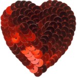 2 1/4'' by 2 1/4'' Red Sequined Iron On Heart Applique2 1/4'' by 2 1/4'' Red Sequined Iron On Heart Applique