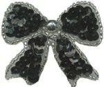 1 3/4'' by 1 1/2'' Beaded & Sequined Bow Applique with Pin on Back - 4 Colors1 3/4'' by 1 1/2'' Beaded & Sequined Bow Applique with Pin on Back - 4 Colors