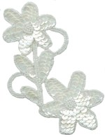 5 5/8'' by 3'' White Beaded & Sequined Applique5 5/8'' by 3'' White Beaded & Sequined Applique