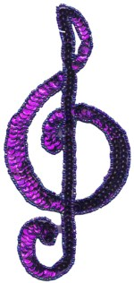 7 3/8'' by 3 3/8'' Purple Beaded & Sequined Musical Note Applique7 3/8'' by 3 3/8'' Purple Beaded & Sequined Musical Note Applique
