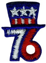 1'' by 13/16'' Sew on Red,White, Blue 76 Applique1'' by 13/16'' Sew on Red,White, Blue 76 Applique