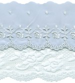 4 1/2'' Light Blue Embroidered Satin with White Lace4 1/2'' Light Blue Embroidered Satin with White Lace