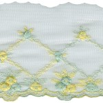 4'' White Netting Lace with Yellow/Mint Embroidery4'' White Netting Lace with Yellow/Mint Embroidery