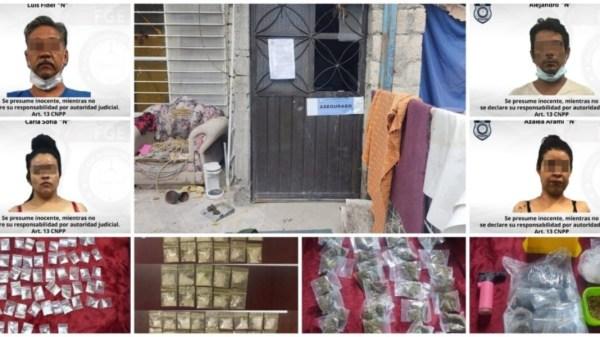 Detienen a dos mujeres y dos hombres por narcomenudeo en Galeana - Zacatepec con posesión de 40 dosis de marihuana y 105 de cristal