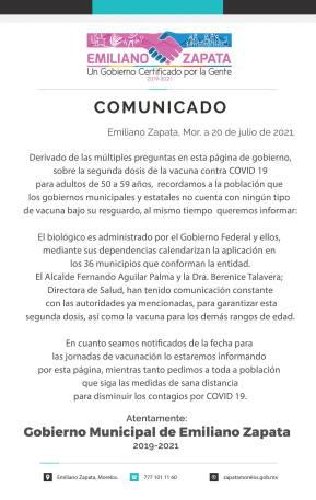 Gobierno Municipal de Emiliano Zapata desconoce fecha de aplicación de segunda dosis de la vacuna contra Covid-19 para adultos de 50 a 59 años