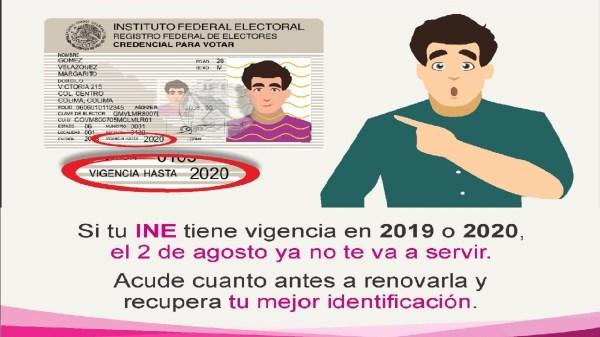 Credenciales de elector con vigencia hasta 2019 y 2020 perdieron vigencia el 02 de agosto