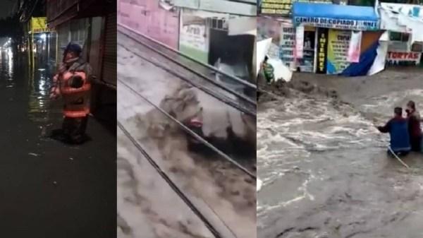 Dos fallecidos, vehículos arrastrados y un hospital inundado es el saldo que deja las intensas lluvias en Ecatepec
