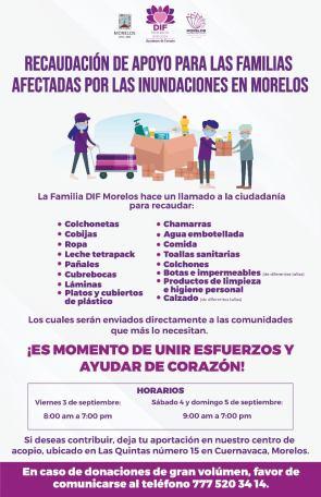 Recaudación de apoyo para familias afectadas por las lluvias se lleva a cabo en Cuernavaca