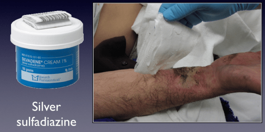 Topical silver is the conventional antimicrobial used for burn wound dressings.