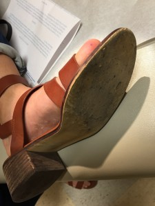 A plantar puncture wound through a shoe