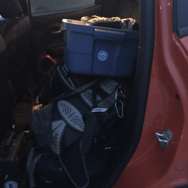 Cramming gear into the Jeep