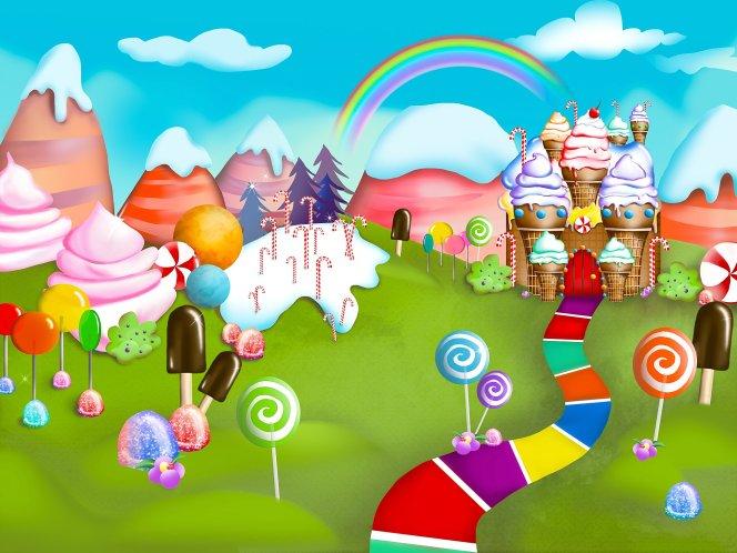 Candy land cake smash photo backdrop