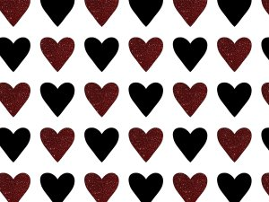 Valentines Day black and Red hearts photo backdrop