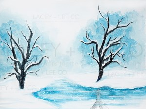 Frozen winter lake Photography Backdrop
