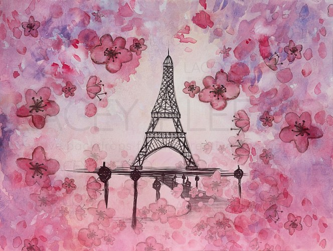 Water color Blossoms and Paris streets Photography Backdrop