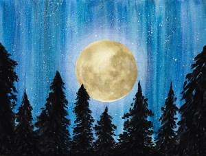 Big yellow moon and night sky photo backdrop