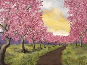 Blossoming Orchard Photo Backdrop