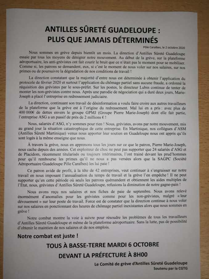 Tous à Basse-Terre Mardi 6 octobre devant la préfecture à 8h00 !