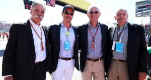 Le créateur du Champagne Carbon,Alexandre Méa (lunettes noires et casquette) , entouré des big boss de la Formule 1.