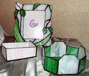 oggetti di vetro con tecnica Tiffany