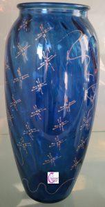 vaso vetro blu decorato www.lachipper.com