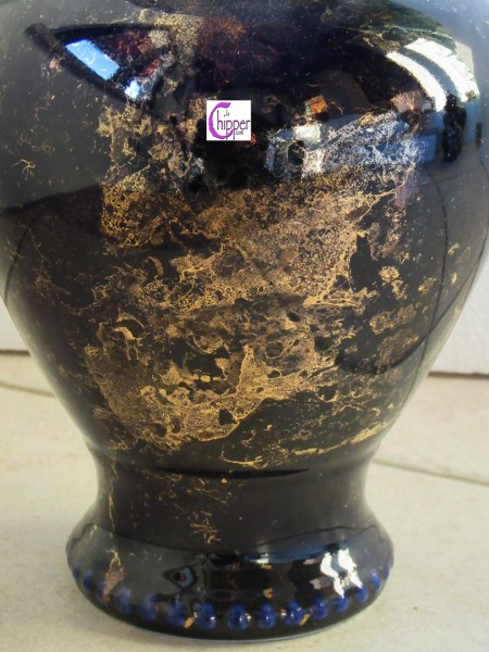 vaso ceramica blu e oro particolare www.lachipper.com