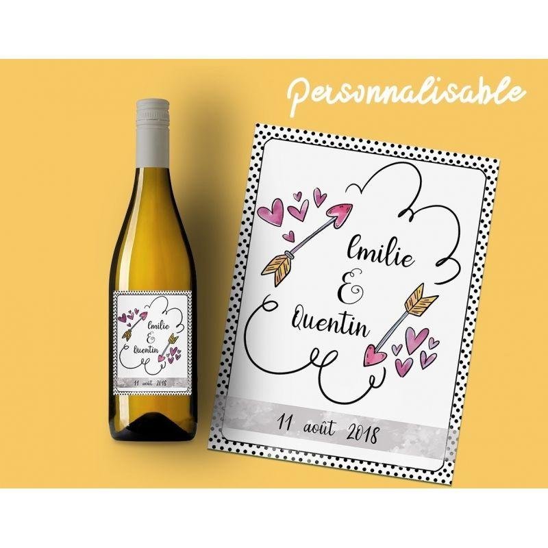 etiquette a coller sur une bouteille de vin ou de champagne