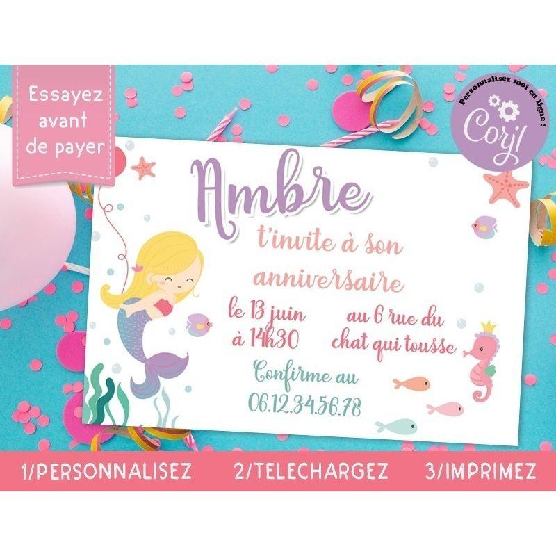 cartons d invitation anniversaire sirene