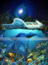 Dolphin marine acrylic painting