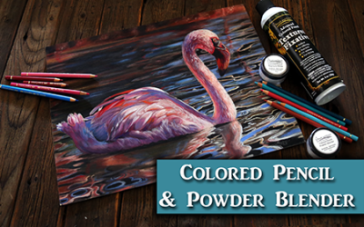 Flamingo in Colored Pencil with Powder Blender
