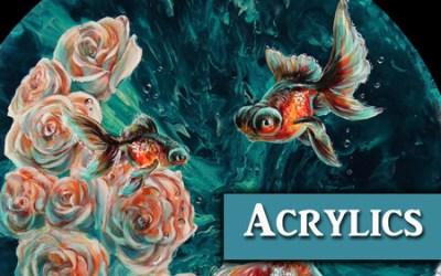 Goldfish & Roses Acrylic Painting over Liquitex Pouring Medium