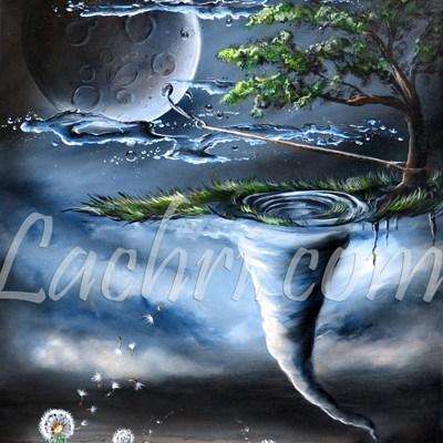 Surreal tornado and dandelion acrylic painting