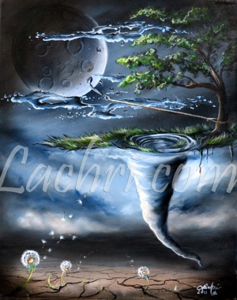 Surreal tornado and dandelion acrylic painting