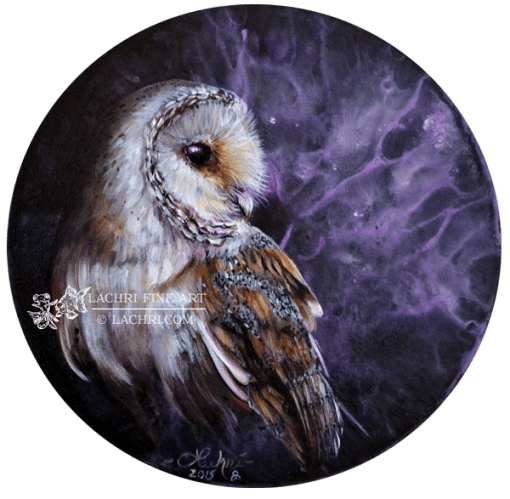 "Barn owl 10"" round oil over acrylic painting"