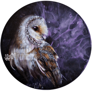 "Barn owl 10"" round oil over acrylic painting"