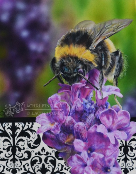 bee painting in colored pencil