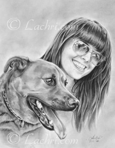 Girl and her dog graphite (pencil) custom portrait