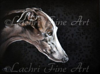 Greyhound oil over acrylic painting