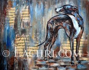 Italian greyhound mixed media painting