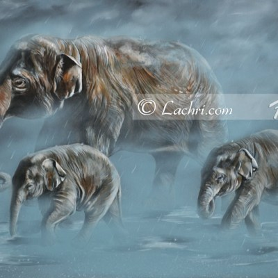 Asian elephants acrylic painting