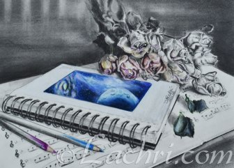 sheet music and roses colored pencil and graphite drawing