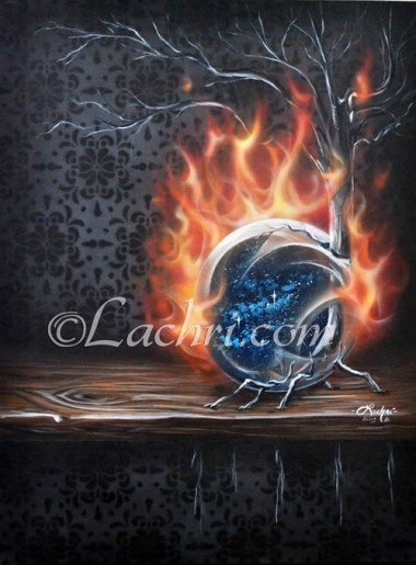 Surreal acrylic Earth and fire painting