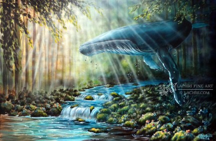 Surreal Whale and Forest Acrylic Painting