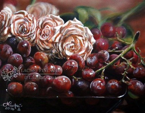 Grapes and Roses painted in Acrylics